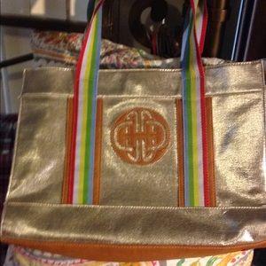 Kate Landry gold leopard tote purse handbag nice